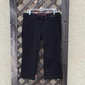 Tommy Hilfiger black capris cloth belt w/ buckle